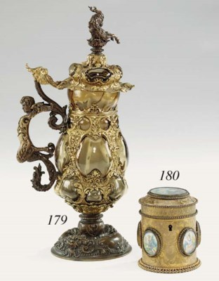 A French engraved gilt brass c