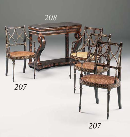 An ebonised and chinoiserie de