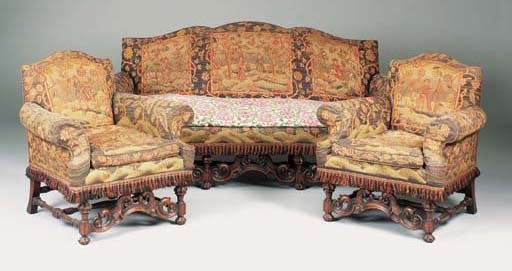 A walnut and tapestry upholste