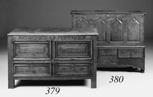 An oak chest, early 18th centu