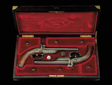 A Cased Pair Of 22-Bore French