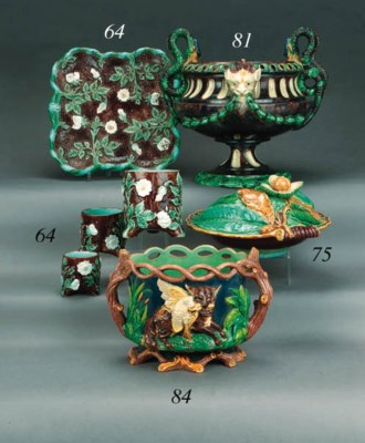 A Continental majolica two-han