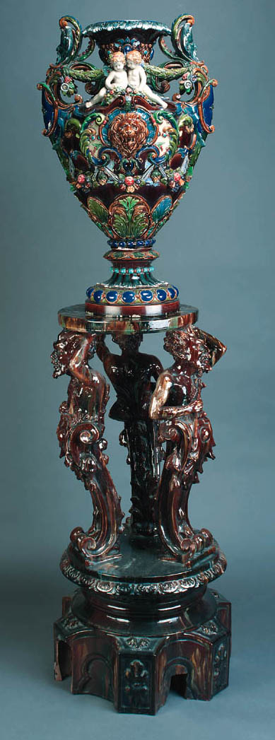 A massive Continental majolica two-handled oviform vase