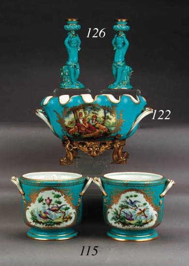 A pair of Sèvres style two-han