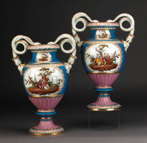A pair of Meissen (outside-decorated) blue-ground ovoid vases