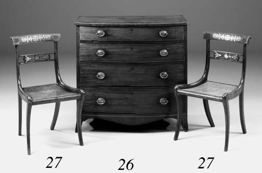 A Regency mahogany and line-inlaid bowfront chest