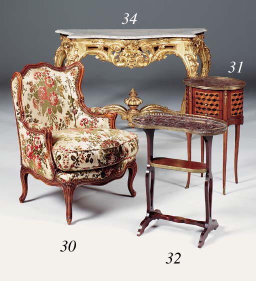 A pair of small walnut bergere