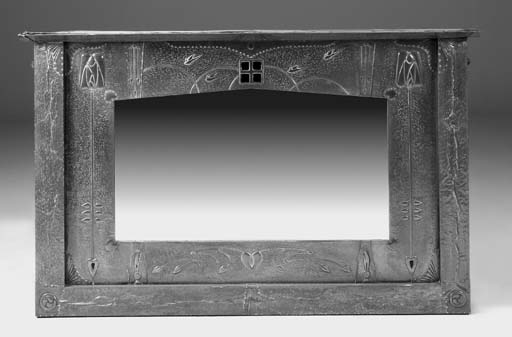 An Arts and Crafts style overmantel mirror