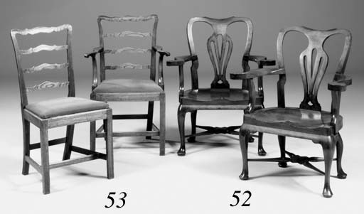 A pair of walnut open armchairs, early 20th century