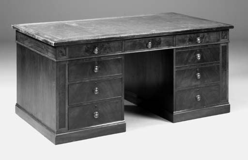 A MAHOGANY PEDESTAL DESK, GEORGE III AND LATER