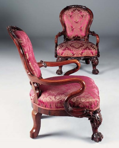 A PAIR OF ROSEWOOD OPEN ARMCHA