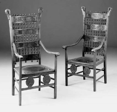 A PAIR OF STAINED BEECH AND LE