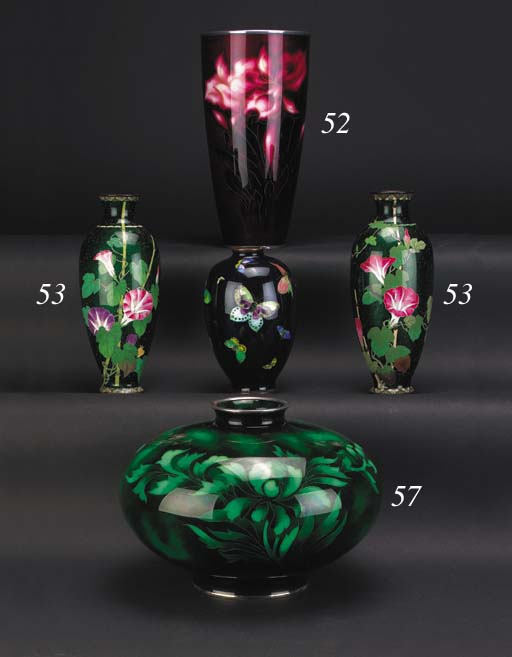 A Japanese cloisonne tapering