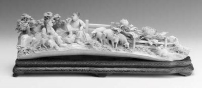A large Chinese ivory group of