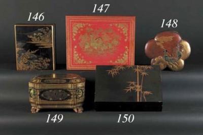 A Japanese wood floriform box
