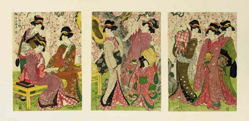 Eizan, an oban triptych