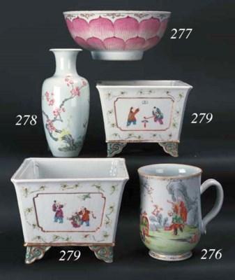 A famille rose tapering vase
