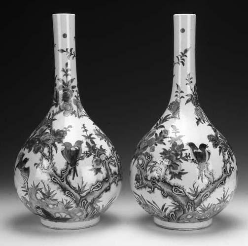 A pair of famille verte bottle