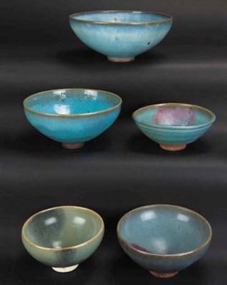 Five Junyao pottery bowls