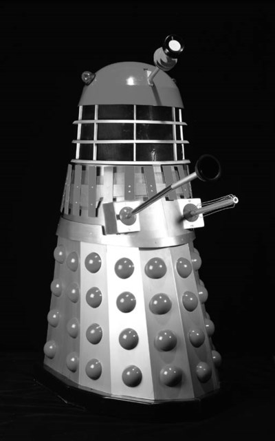 A replica red and silver Dalek