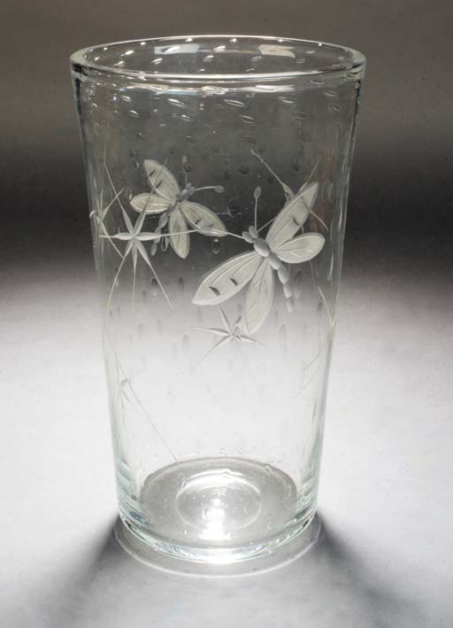 A Webb cut and etched glass va
