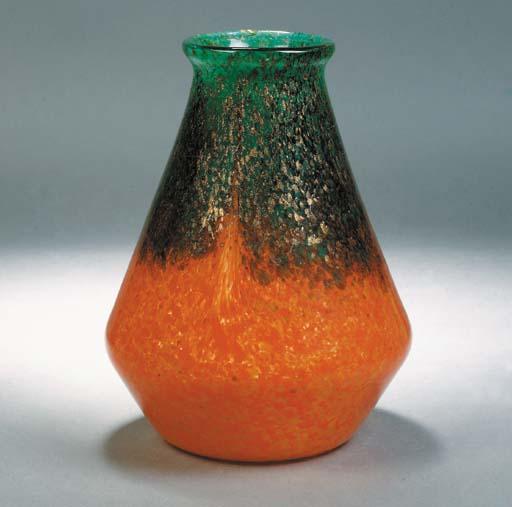 A Monart orange and green vase