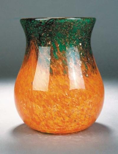 A Monart orange vase