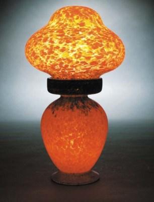 A Monart orange lamp base and