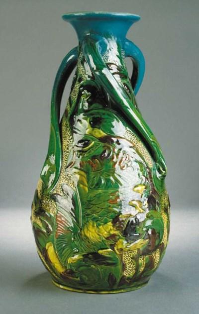 A C H Brannam large fish vase