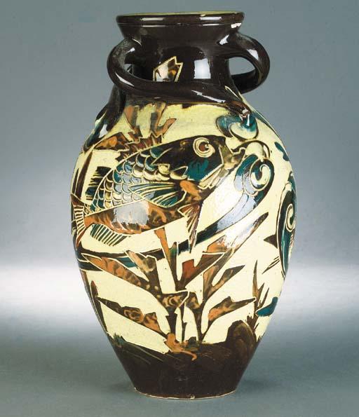 A C H Brannam fish vase