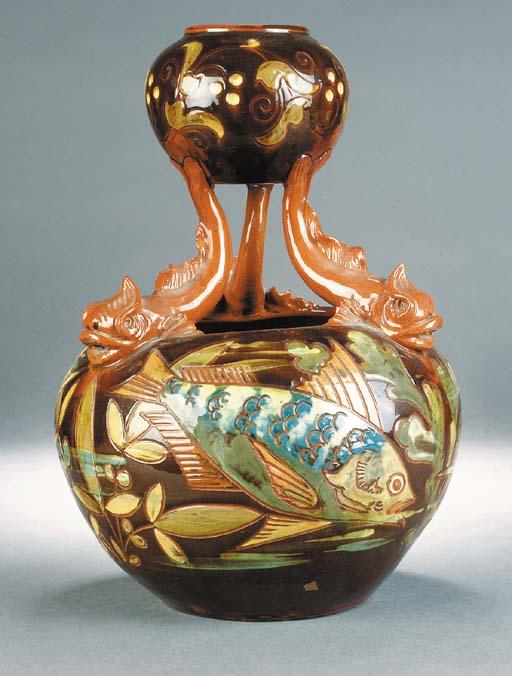 A C H Brannam dolphin vase
