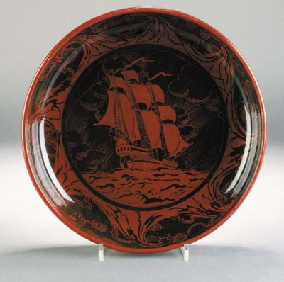 A Bernard Moore flambe galleon