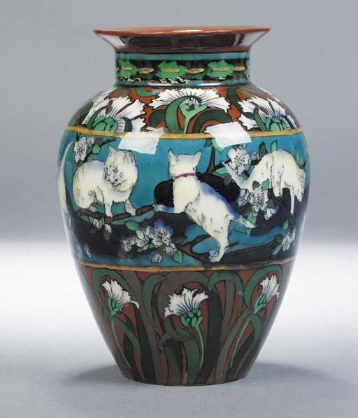 A Foley Intarsio cat vase