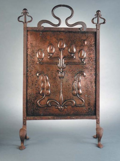 An Arts and Crafts copper fire