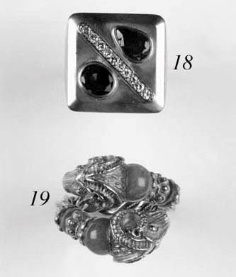 A diamond and gem panel ring,