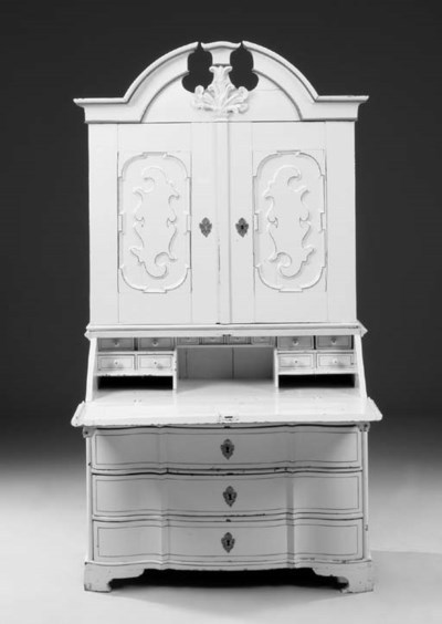 A Danish painted pine bureau c