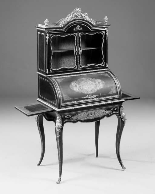 A French ebonised and gilt-met