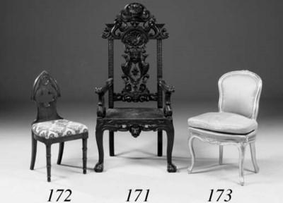 An oak high-back elbow chair,