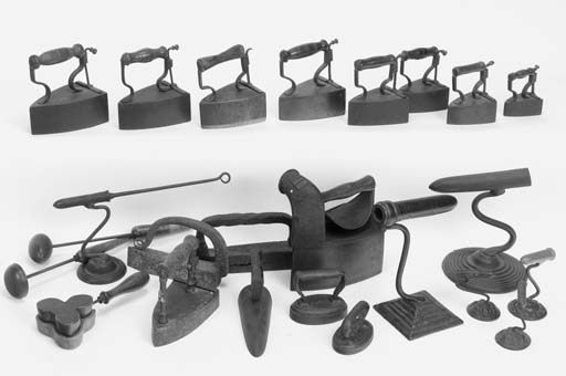 A collection of irons: