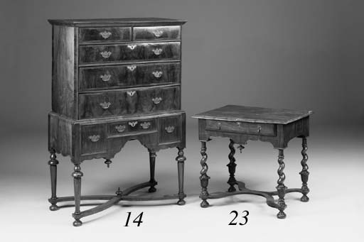 A walnut side table, 18th cent