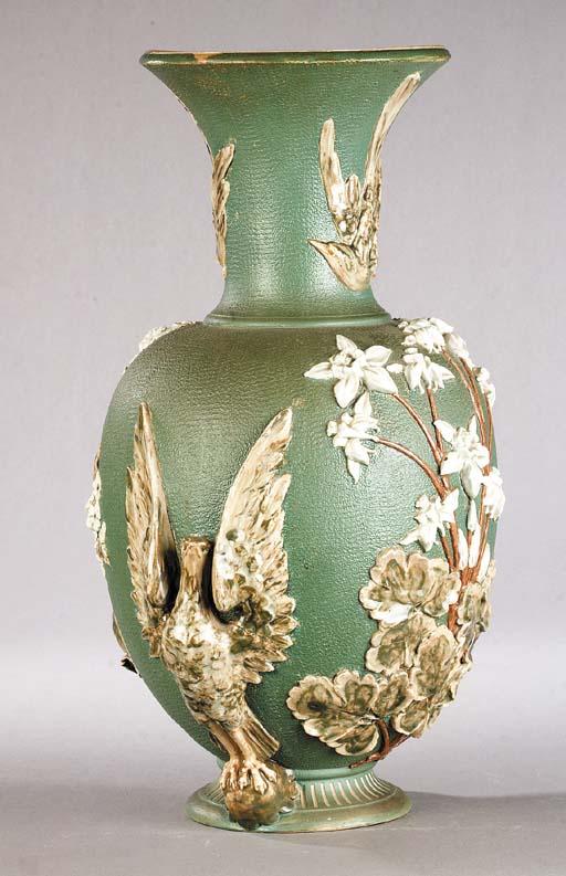 A large Lambeth stoneware vase