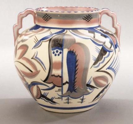 A twin-handled geometric vase