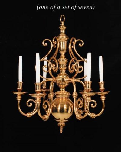 A set of seven brass electroli