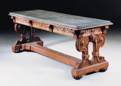 A carved oak centre table, lat