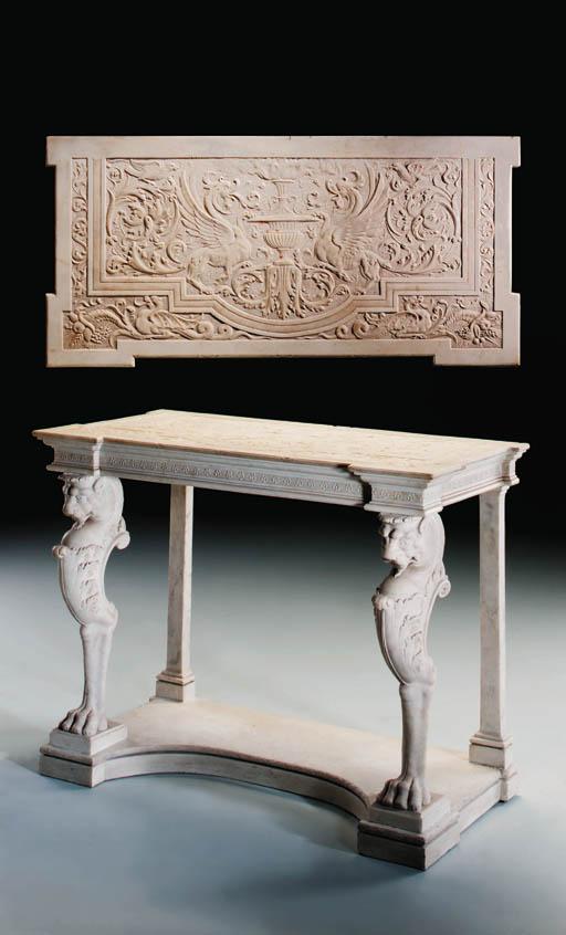 An Italian white marble consol
