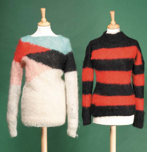 A MOHAIR JUMPER, LOOSELY KNITT