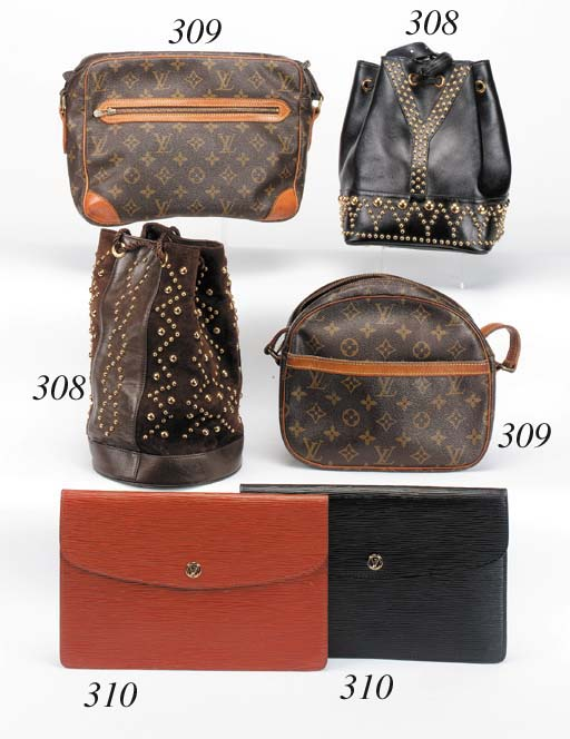 A LOUIS VUITTON POCHETTE OF BLACK EPI LEATHER, THE INTERIOR LINED WITH BLACK MOROCCO LEATHER AND FITTED WITH A POCKET, STAMPED LOUIS VUITTON--10 1/2IN. (27CM.) BASE; AND ANOTHER IN BROWN EPI LEATHER