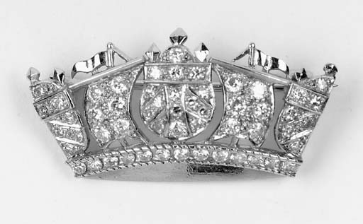A diamond naval crown brooch.