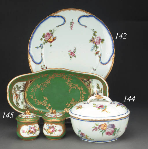 A Sèvres oval sugar bowl and c