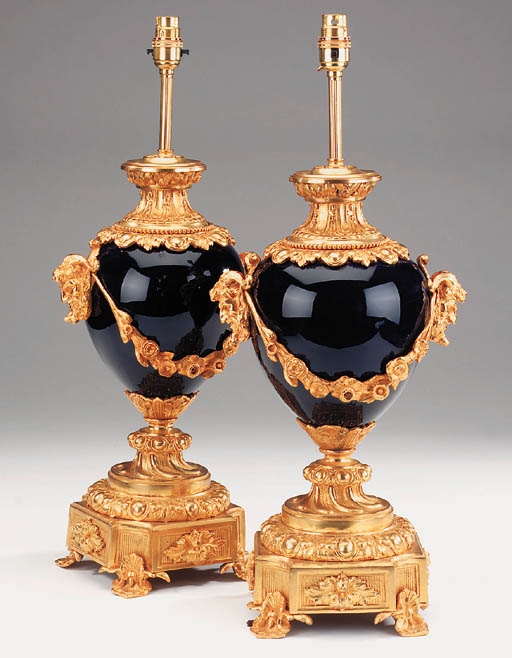 A pair of French Sevres blue p